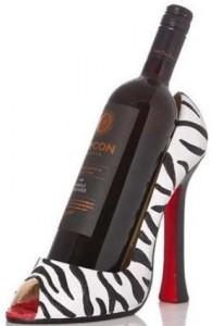 Zebra High Heel Shoe Bottle Holder