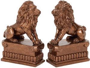 Bronze Lion Statue Bookends