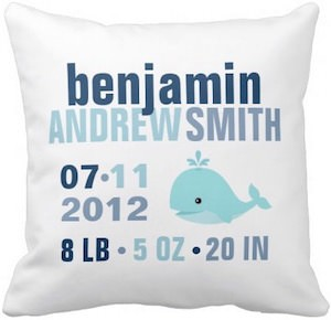 Whale Baby Announcement Pillow