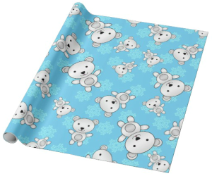 Polar Teddy Bear Snowflakes Wrapping Paper