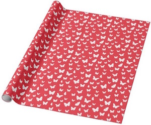 Red Butterfly Wrapping Paper